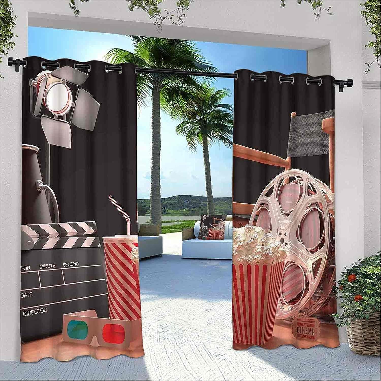 Cortinas impermeables para cine con diseño de objetos de la industria del cine Hollywood Motion Picture Cinematografía, apto para pabellones de terraza al aire libre, 108 x 72 pulgadas, multicolor