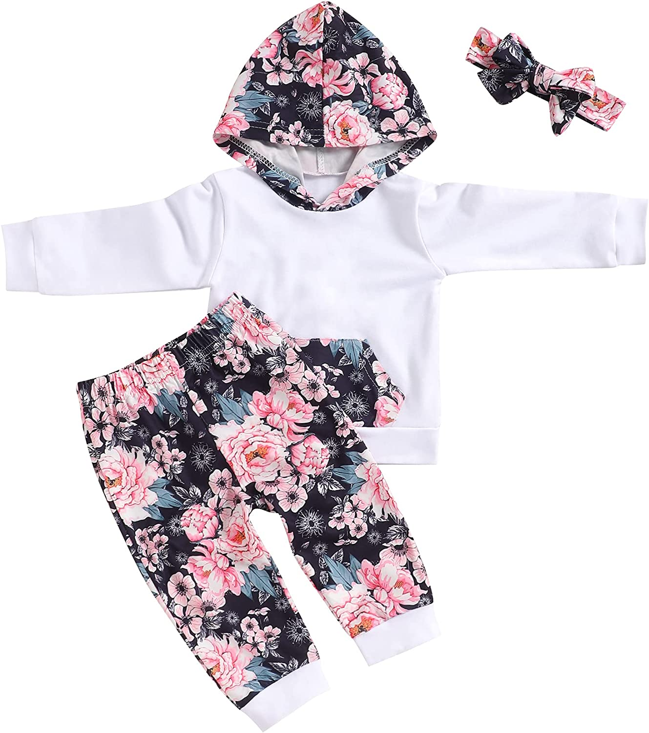 Toddlers Baby Girls Clothes Long Sleeve Baby Girl Outfits Hoodie and Pants Set for Fall
