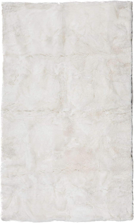 Overseas parallel import regular item Contemporary Home Living 8' x 10' Max 85% OFF Alpaca Fur White Soft Rectangu