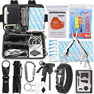 EMDMAK Survival Kit Outdoor Emergency Gear Kit for Camping Hiking Travelling or Adventures (New Red)