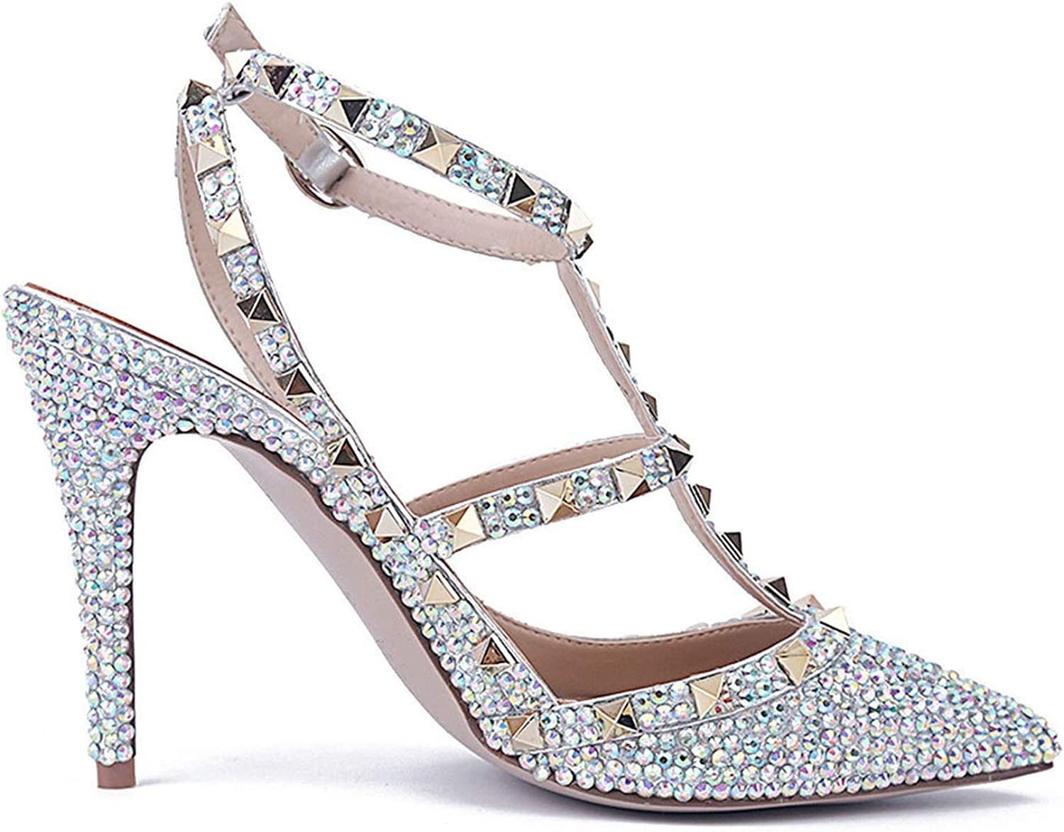 Sunshine-Family color Rivet Sandals Women Tip Shallow One-Word Buckle High-Heeled Wedding shoes