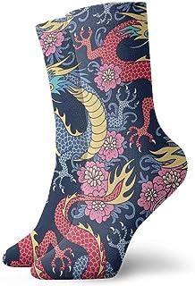 Love girl, Calcetines de mujer para hombre Calcetines de dragones azules y rojos Novedad de moda Calcetines deportivos secos Calcetines 30cm