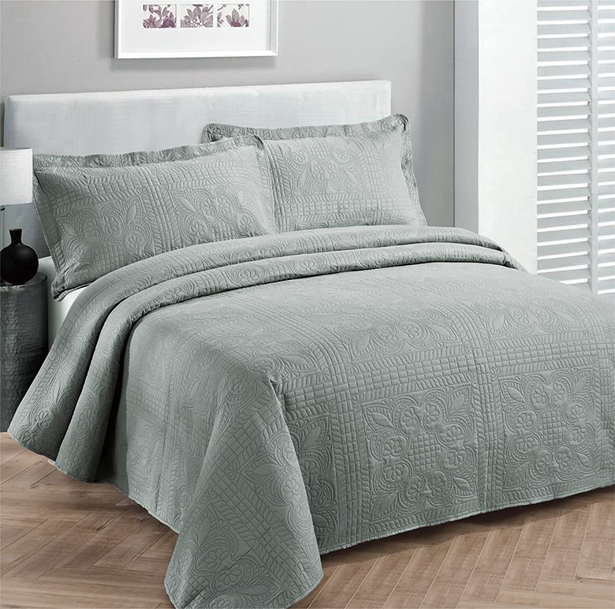 受け継ぐ私達アベニュー(Full/Queen, Grey) - Fancy Collection 3pc Luxury Bedspread Coverlet Embossed Bed Cover Solid Grey New Over Size 250cm x 270cm Full/queen