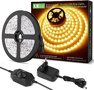 comprar comparacion LE LED Luces de Tiras Regulables, 5M 1200lm, Blanco Cálido 3000K, 300 LEDs, Enchufe en la tira de luz para gabinete, armar...