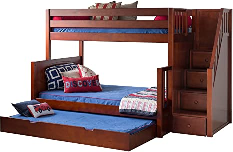 Amazon Com Maxtrix Solid Hardwood Twin Full Bunk Bed With Staircase Entry And Trundle Chestnut Furniture Decor