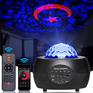 Star Projector Galaxy Night Light,3 in 1 Starry Sky Laser Ocean Wave Nebula Lights for Bedroom Ceiling Home Theatre Decor Party Kids Children Adults with Bluetooth Music Speaker Gift Box(Black)