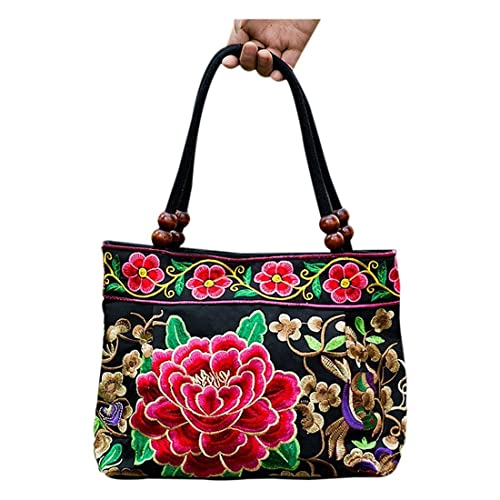 TOOGOO(R) Chinese Style Women Handbag Embroidery Ethnic Summer Fashion  Handmade Flowers Ladies Tote 9fca4a4e10862