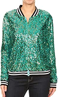 LONGDAY Womens Sequin Long Sleeve Front Zip Jacket with Ribbed Cuffs Sparkle Mermaid Sequin Bomber Jacket Party