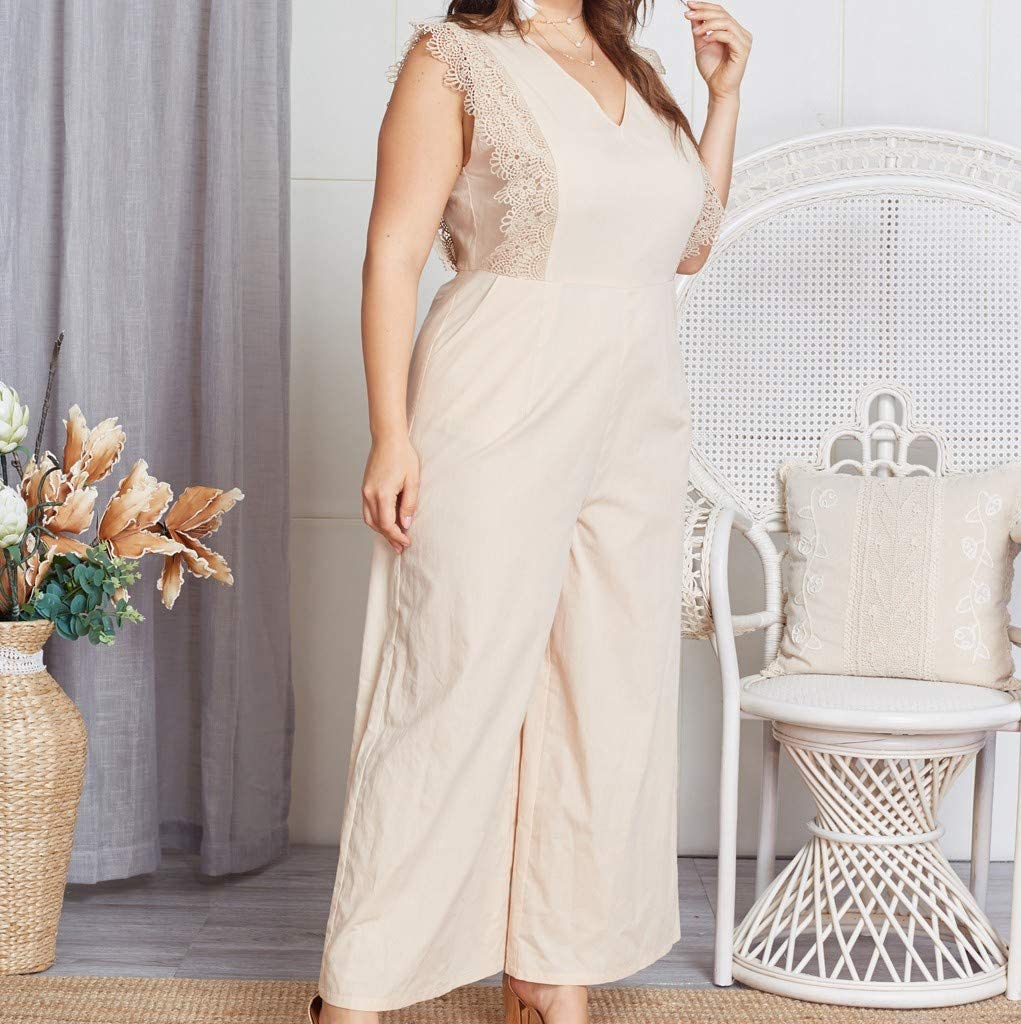Alueeu Fashion Women Short Sleeve Jumpsuit Summer Solid Color Plus Size Strappy Sequined Overlay Wide Leg Jumpsuit