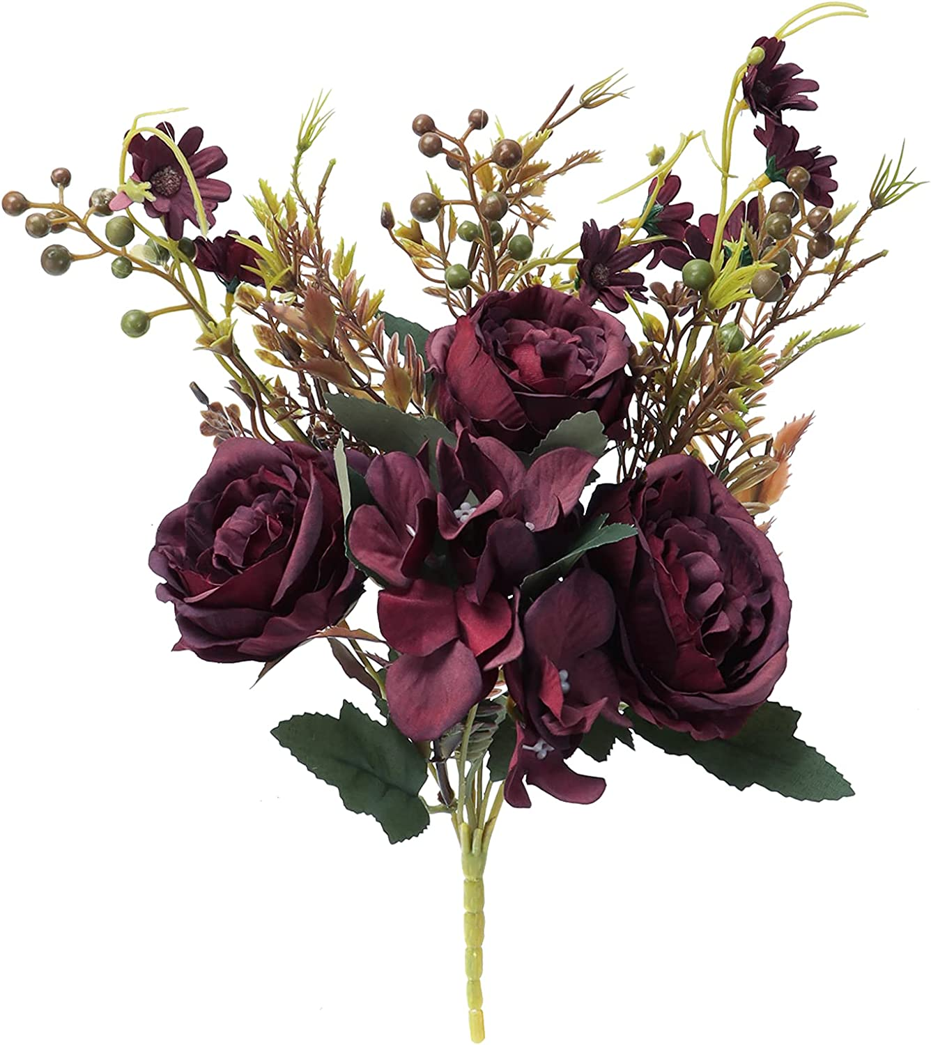 Fake Flowers Vintage Peony Artificial Flowers Hydrangea Bouquet for Wedding Home Decoration (Dark Red)