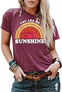 Kaislandy Womens You are My Sunshine T Shirt Short Sleeve Printed Graphic Tees Casual Summer O Neck Tops Shirts