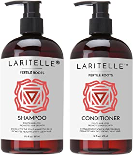 Laritelle Organic Shampoo 17 oz + Conditioner 16 oz | Prevents Hair Loss, Promotes Hair Growth | Ayurvedic Herbs, Lavender...