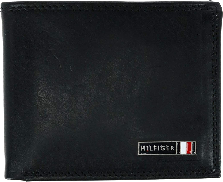 Tommy Hilfiger Men's Leather Edisto RFID Slim Bifold Wallet, Black