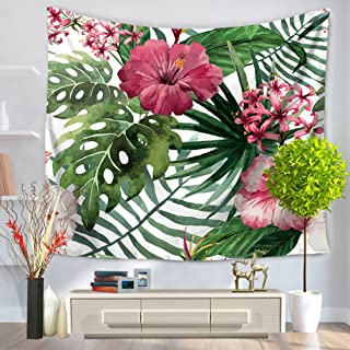 LANGUGU Watercolor Flower Décor Tapestry,Exotic Fantasy Hawaiian Tropical Palm Leaves With Stylish Floral Graphic Illustra...