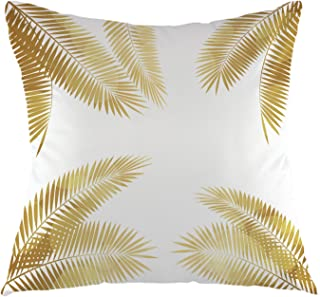 oFloral Gold Palm Tree Leaves Throw Pillow Cover Tropical Palm Leaf Pillow Case Square Cushion Cover for Sofa Couch Home Car Bedroom Living Room Decorative 18