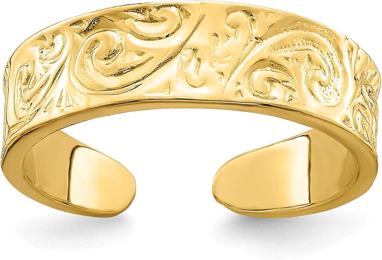 14k Yellow Gold Paisley Swirl Pattern Toe Ring