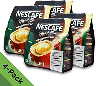 4 PACK - Nescafé 3 in 1 RICH Instant Coffee (100 Sticks TOTAL) Made from Premium Quality Beans Offers a Relaxing Flavor But with Strong, Solid Essence and Aroma Has a Richer Taste than Nescafé 3 in 1 Original Serve Hot or Cold From Nestlé Malaysia
