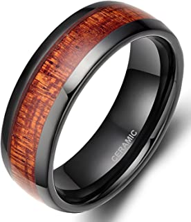 6mm / 8mm Black Ceramic Ring for Men with Wood Inlay Wedding Band Flat/Dome Style Size 6-14.5
