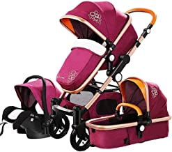 3 in 1 Luxury Baby Stroller 4 in 1 High Landscape Portable Stroller Infant Car Seat Easy to Folding Travel System & Diaper Bag (Purple 3 in 1)