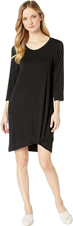 Jersey 3/4 Sleeve Dress w/ Knot Detail