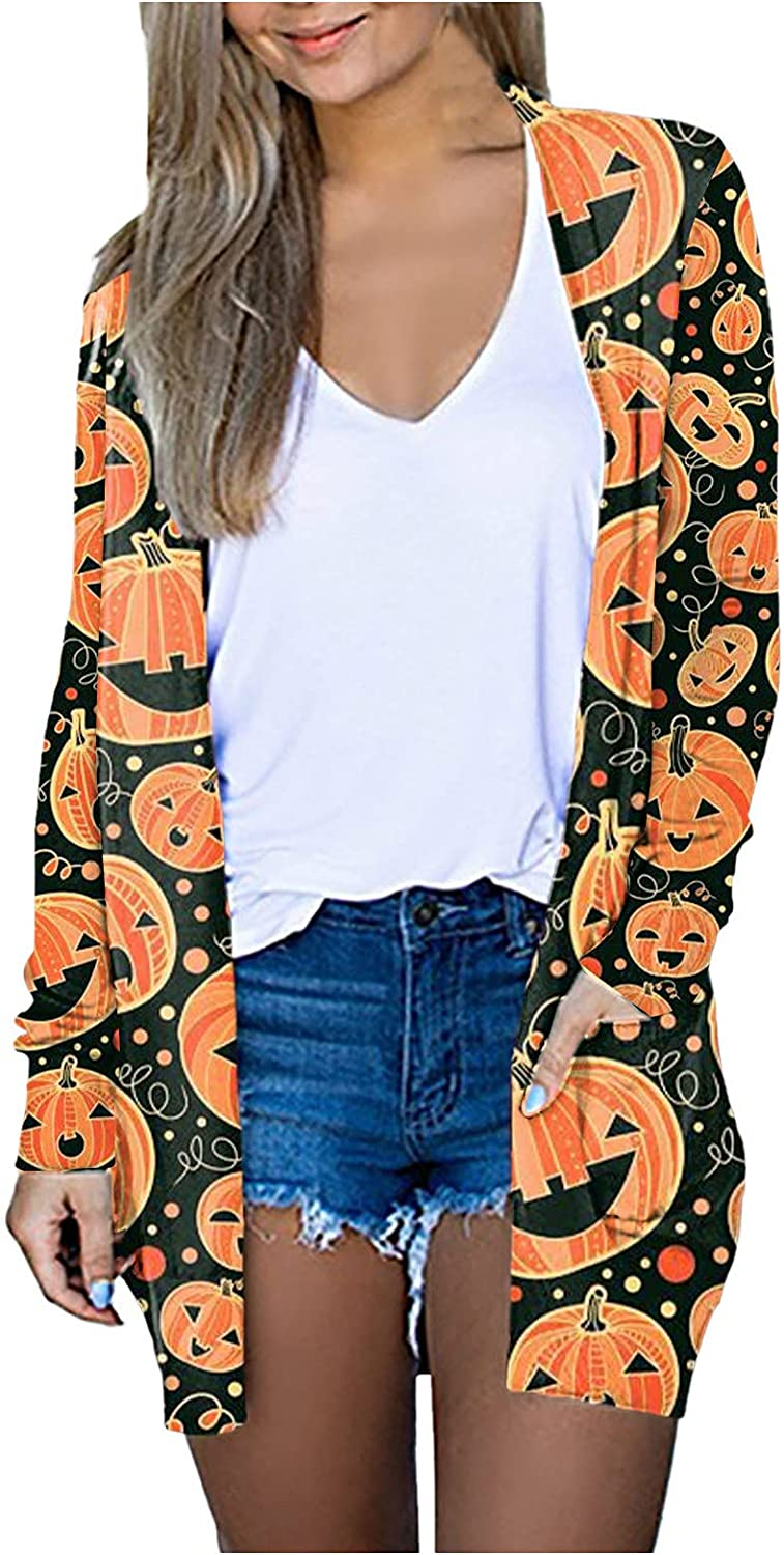 Womens Halloween Print Open Front Cardigan Long Sleeve Cute Kimono Cover Fall Lightweight Loose Coat with Pockets