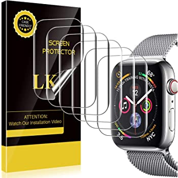 LK [6 Pack] Screen Protector Compatible with Apple Watch 44mm Series 6/SE/5/4 [Model NO.KO4721] [Japanese Material], Bubble-Free, Flexible TPU Film