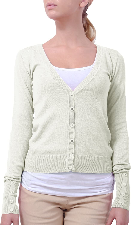 NE PEOPLE Women's Button Down Long Sleeve V Neck Knit Cardigan (13 Colors)