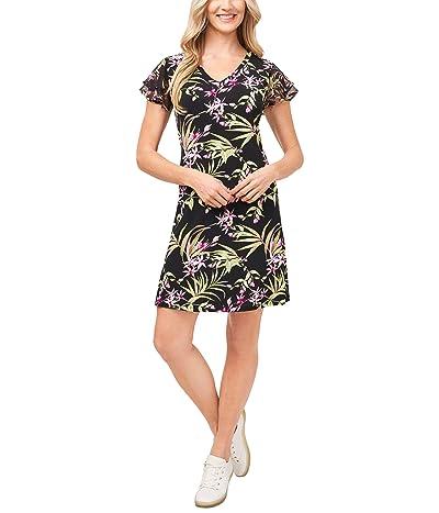 CeCe Flutter Sleeve Serene Flora Knit Dress