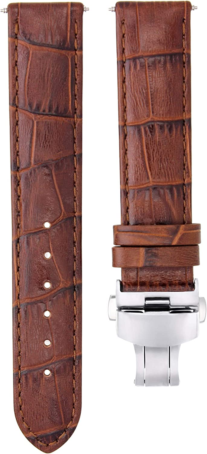 Topics on TV 19mm Leather Watch Strap Band Deployment OFFer Compatible with Tissot