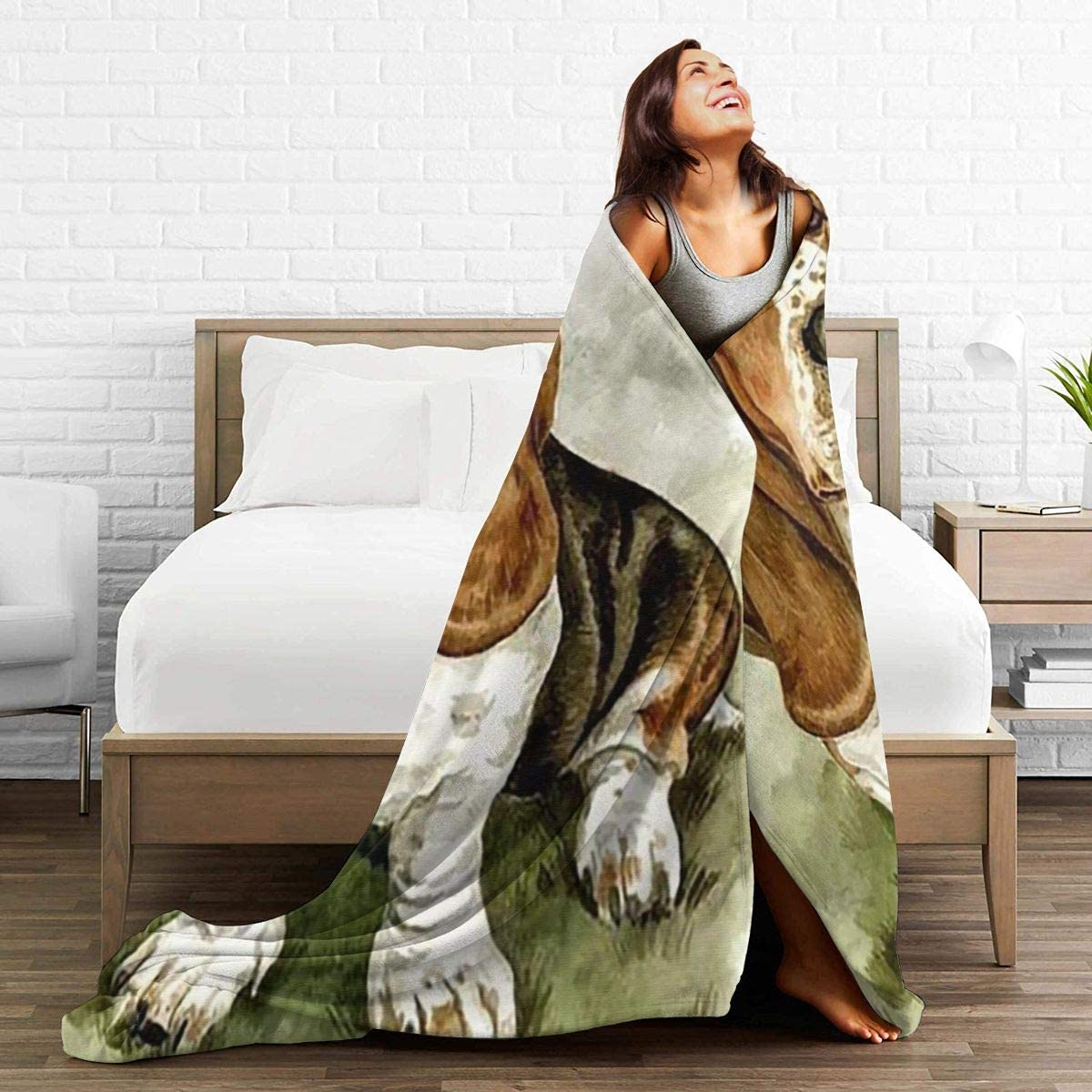 Soft Cozy Flannel Blanket Travel Twin Size Blankets for Boys Girls Couch Sofa Bed Chair Basset Hound Dog Throw Blanket Thin for Summer All Seasons 80x60 in