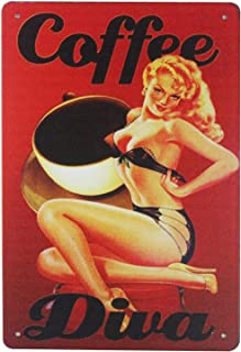 ERLOOD Coffee Pin Up Girl Man Cave Sign Retro Vintage Decor Metal Tin Sign 12 X 8 Inches