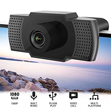 1080P HD Webcam with Microphone,USB Webcam, Built-in Noise Reduction,Plug & Play Auto Focus,Widescreen Streaming Webcam for PC/Mac Laptop/Desktop Streaming Video Calling Recording Conferencing
