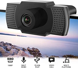 1080P HD Webcam with Microphone,USB Webcam, Built-in Noise Reduction,Plug & Play Auto Focus,Widescreen Streaming Webcam fo...