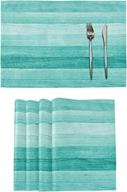 Teal Turquoise Green Wood Placemats Set of 6 Washable Non-Slip Burlap Table Mats Heat Resistant Place Mats for Home Kitchen D