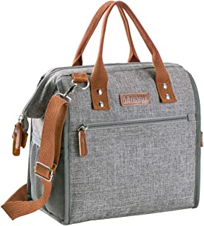 Insulated Lunch Bag, Fashionable Lunch Bags for Women, Large Capacity Leakproof Lunch Box Organizer for Office Work/Picnic/Hiking/Beach (Gray)