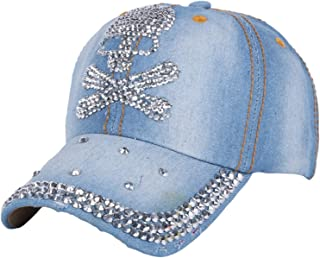 Beautiful Crown Shaped Outdoor Casual Denim Caps Rhinestone Snapback Hats NO 2 Color3 Size 56-60 cm 15 to Adult Year Old