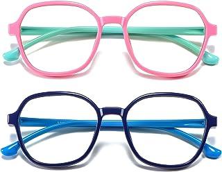 AHXLL Kids Blue Light Blocking Glasses Girls Boys 2 Pack, Polygon Flexible Frame Computer Gaming Screen Glasses for Kids A...
