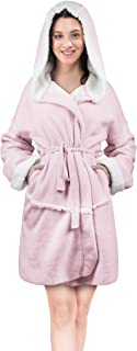 Women's Hooded Robes Soft Warm Short Plush Fleece Bathrobe Sherpa Lined Dressing Gown