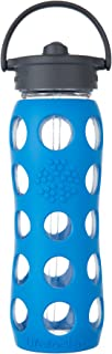 Lifefactory 22-Ounce BPA-Free Glass Water Bottle with Straw Cap and Protective Silicone Sleeve, Ocean