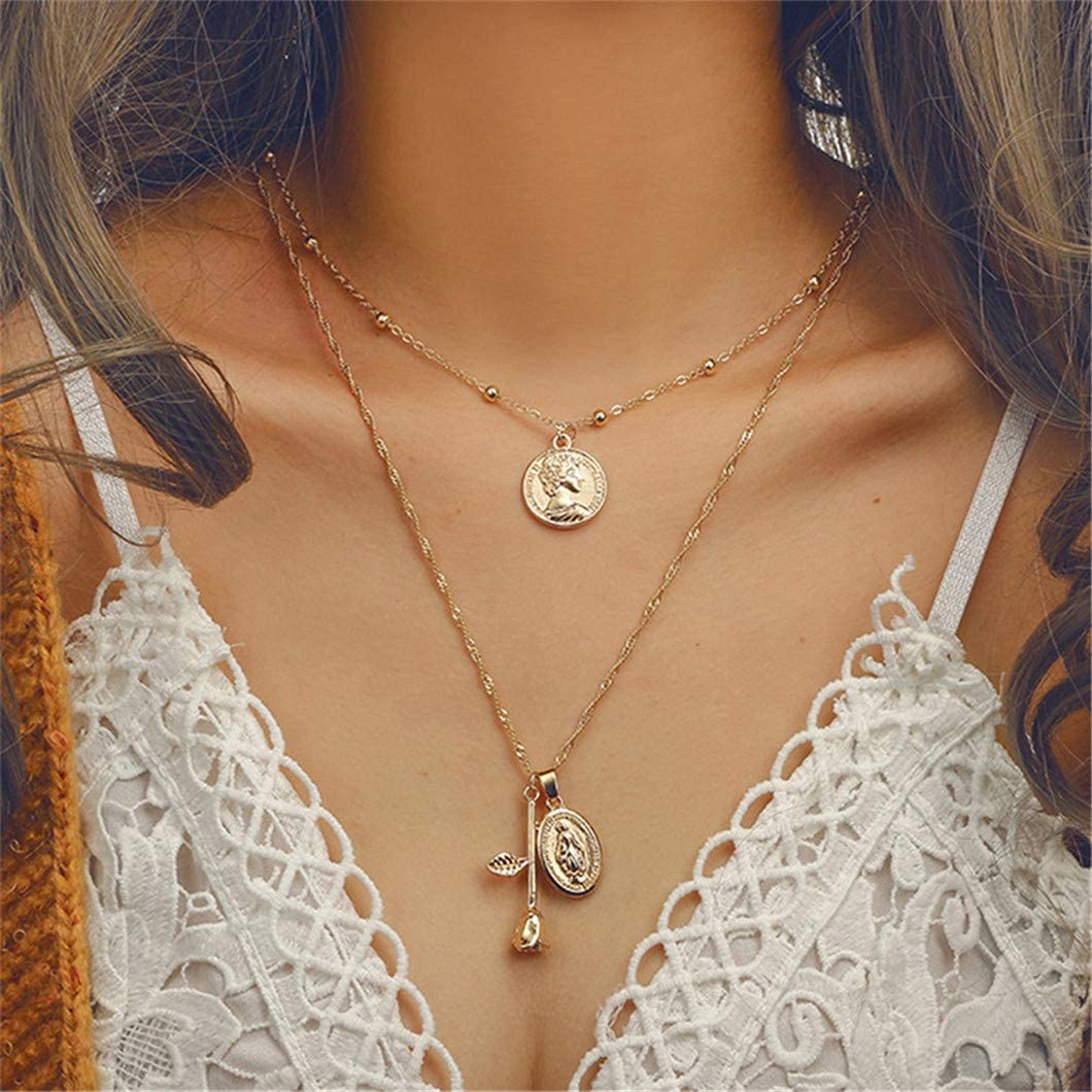 Sperrins Very popular! Dainty Disc Chokers Layered Circle Y Max 76% OFF Necklace