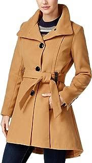 Women's Jr Drama Belted Skirted Coat Camel Large