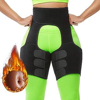 Awzcy Thigh Trimmer High Waist Butt Lifter Shaping Neoprene Training Ultra Light Thigh Support Shapewear for Women Workout Fitness (Black) M