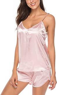 AIRPJ Satin Pajamas Set Silk Sleepwear Cami Nightwear Sexy Lingerie PJ S-XXL