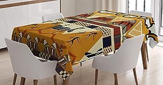 ABAKUHAUS Ethnique Nappe, Hunt Zebra Tribe Ethnique, Linge de Table Rectangulaire pour Salle à Manger Décor de Cuisine, 14...