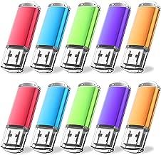 Flash Drive, wellsenn USB Flash Drive 8 GB X10 Bulk Memory Stick Jump Drive External Drives USB Stick USB Storage Portable Thumb Drive Pen Drive Pack 10 Mixed Coler (8G10COLOR)