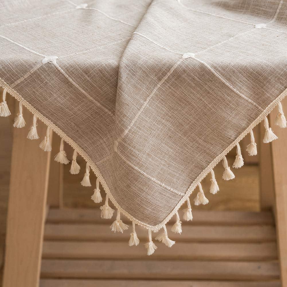 Sunbeauty Mantel Antimanchas Rectangular Algodon Lino con Borlas Mantel Cuadros Gris 140x220 cm Table Cloth Rectangle Tablecloth para Mesa de Comedor