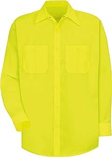 Red Kap Men's Flourescent Yellow Green Hi Visibility Class 2 Level 1 Work Shirt