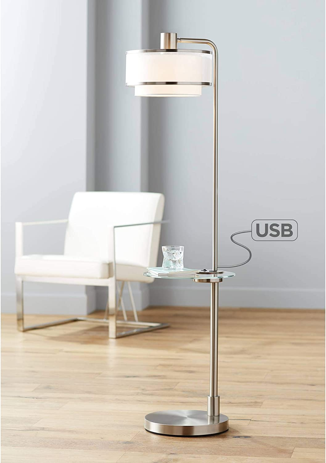 Vogue Modern Fashion Floor National products Lamp with Brushed Glass Nickel Table Tempered