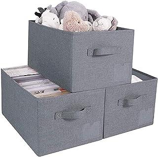 Yunly Paniers de rangement ouverts, boîte de rangement pliable en tissu pour serviettes, livres, vêtements de chambre à co...