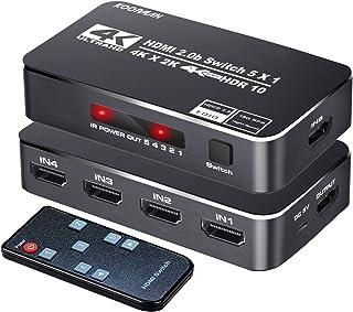 Conmutador HDMI 4K HDR, Koopman 5 puertos 4K 60Hz HDMI 2.0 Switcher Selector con control remoto IR, soporta Ultra HD Dolby...